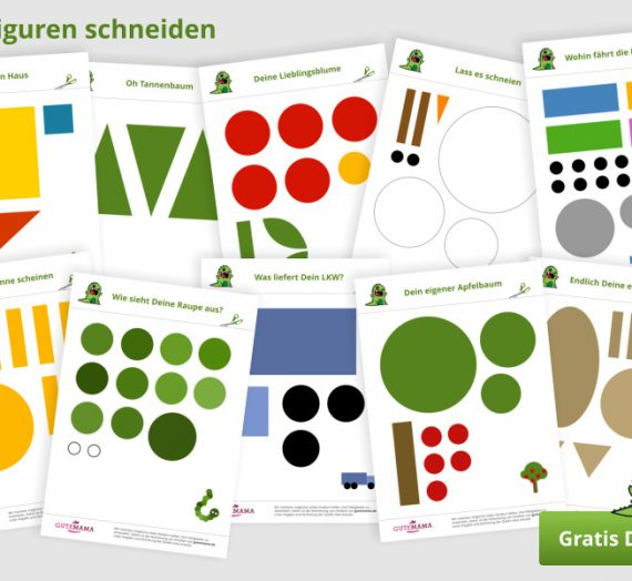 Einfach Schneiden lernen & üben – 31 gratis Vorlagen + Scherenführerschein zum ausdrucken
