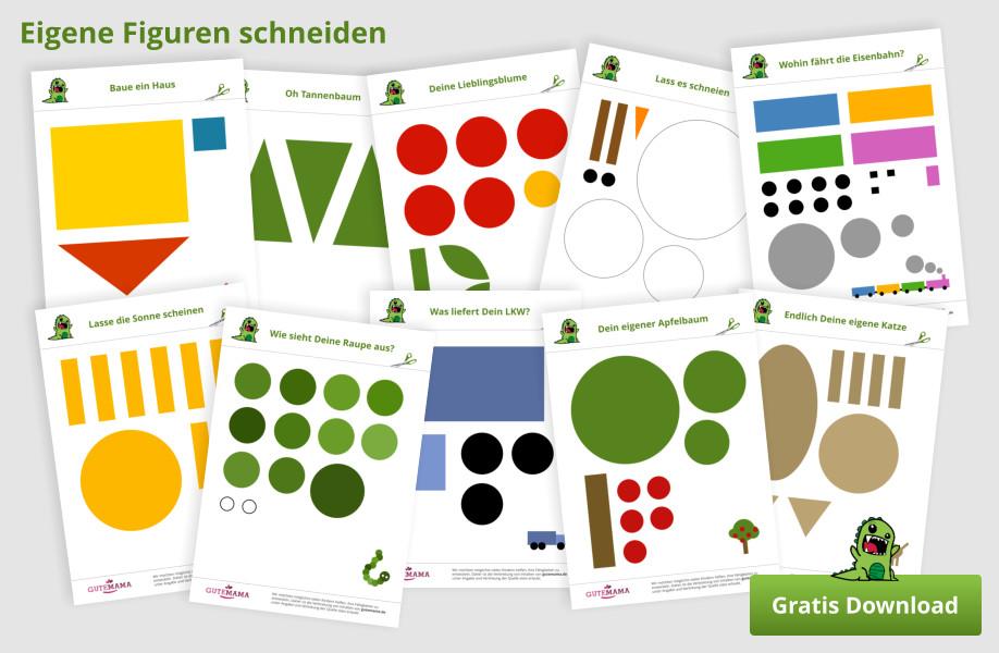 Einfach Schneiden lernen & üben - 31 gratis Vorlagen + Scherenführerschein zum ausdrucken