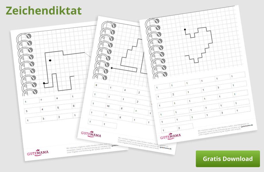 Bilderdiktat - kostenlose Arbeitsblätter zur Konzentrationsübung für Kinder