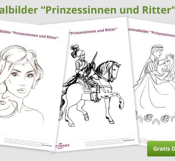 """Kostenlose Ausmalbilder """"Prinzessinnen und Ritter"""""""