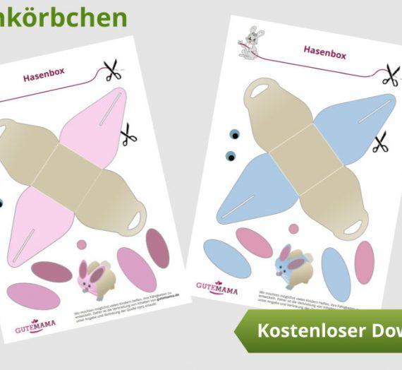 Osterkörbchen – Hase -kostenlose Vorlage