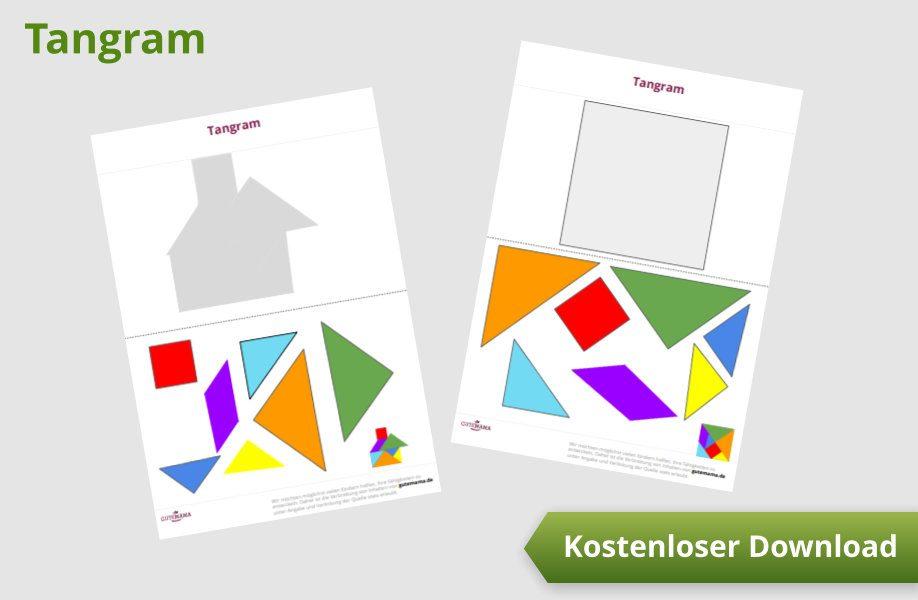 tangram  ausschneiden kombinieren kleben  deine kinder