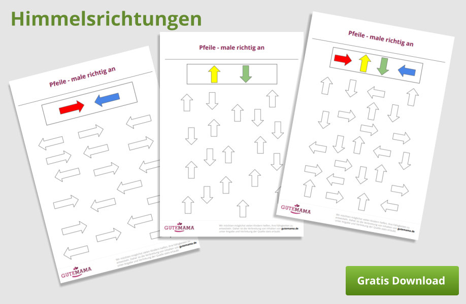 Rechts und Links lernen mit Pfeilen - kostenlose PDF