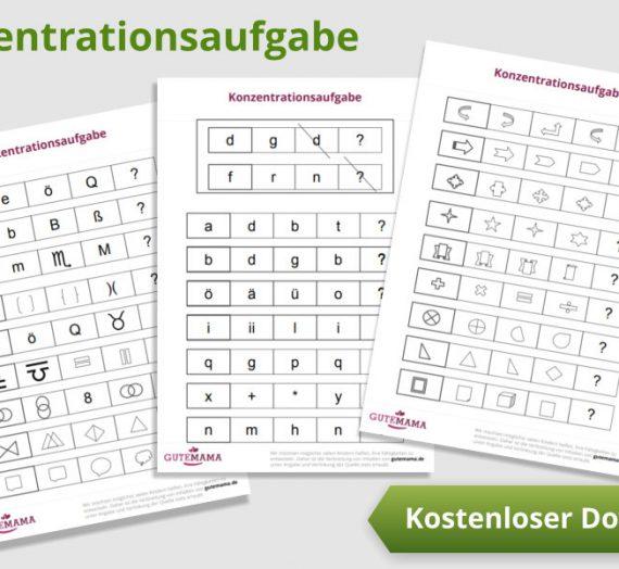 Konzentrationsaufgabe – kostenlose pdf