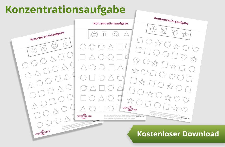 Konzentrationsaufgaben - kostenlose PDF