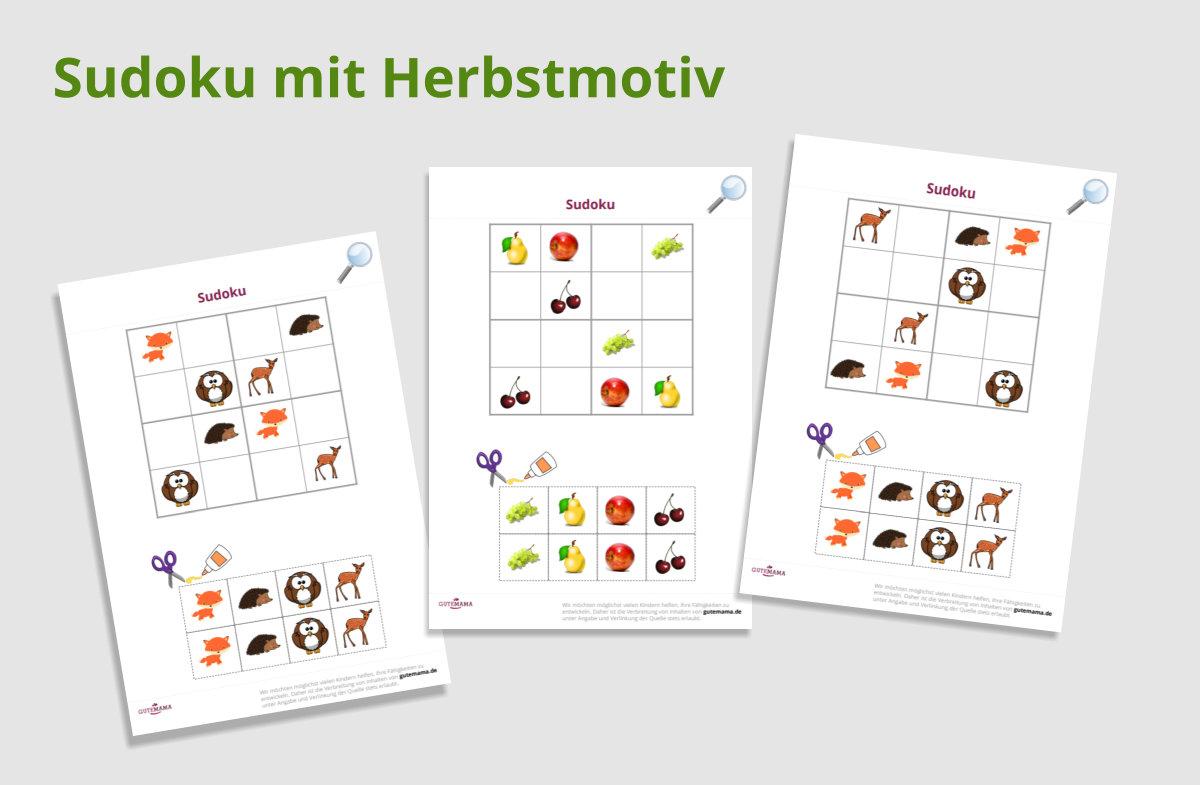 Sudoku für Kinder mit Herbstmotiv