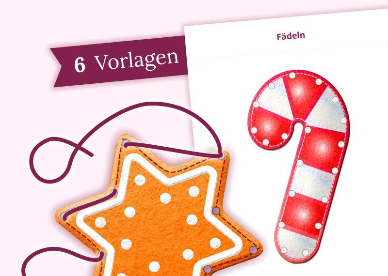 Aus diesen Vorlagen können Sie mit Hilfe eines Lochers und eines Laminiergeräts tolle Weihnachtsfäd