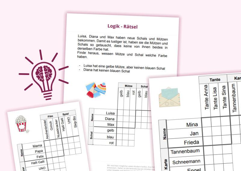 Rätsel zur Entwicklung des Logikverständnisses der Kinder. Kinder der 3. und 4. Klasse können die R
