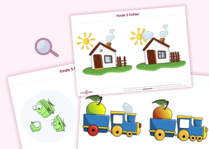 Fehlersuche - 5 Fehler finden - Arbeitsblätter für Kinder