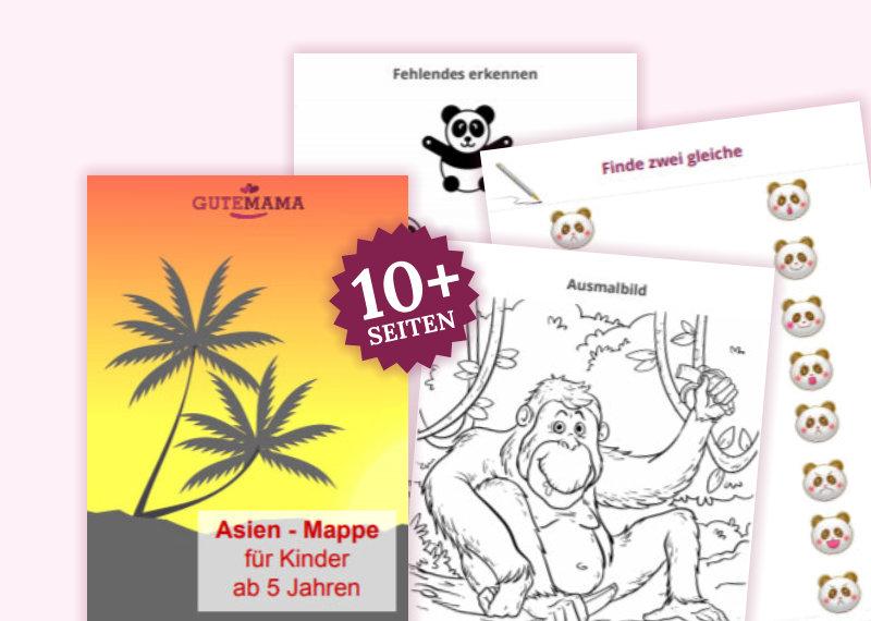 Die Asien-Mappe besteht aus 12 Arbeitsblätter für gezielte Schulvorbereitung im Kindergarten. Darun