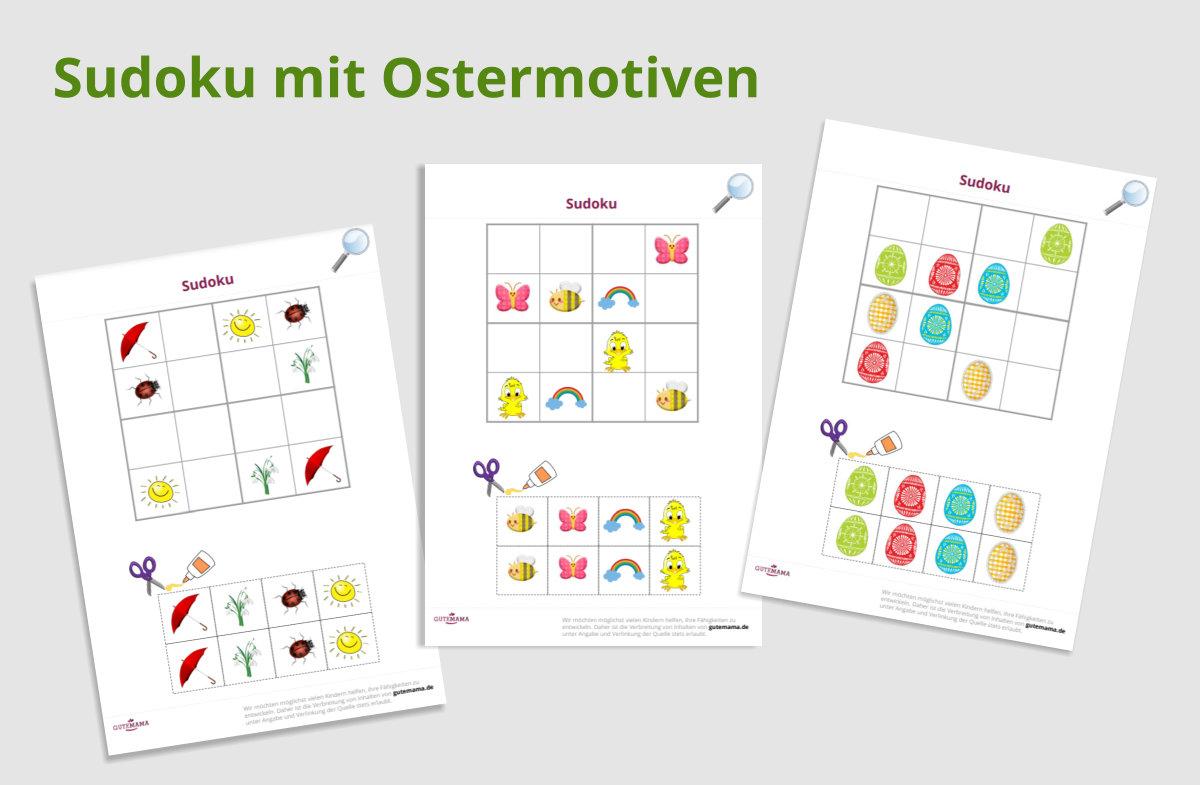 10 Arbeitsblätter für gezielte Schulvorbereitung im Kindergarten mit Ostermotiven zum kostenlosen P
