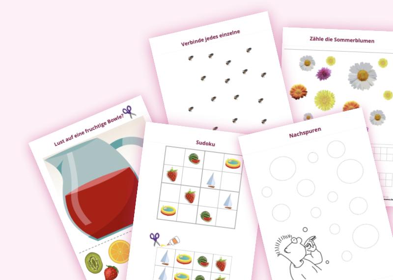 Eine Mappe mit 10 Arbeitsblättern zur gezielten und lustigen Schulvorbereitung im Kindergarten in h