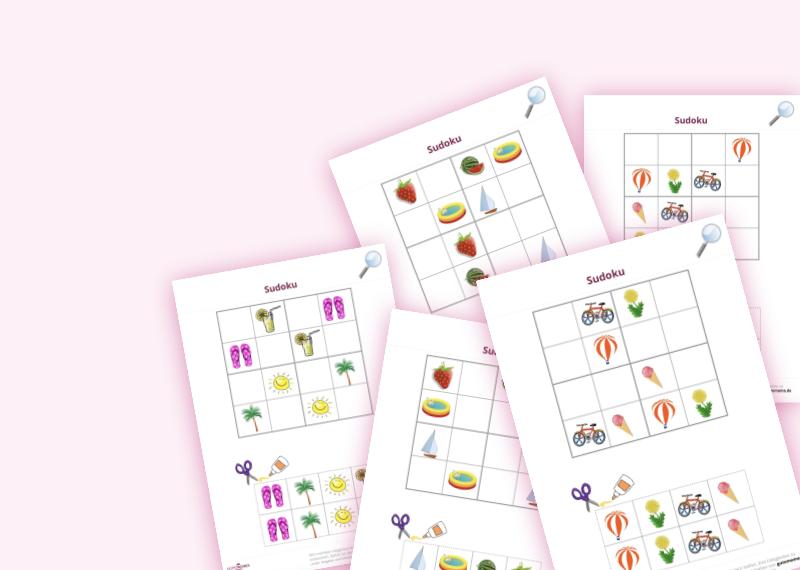 10 Arbeitsblätter für gezielte Schulvorbereitung im Kindergarten mit Sommermotiven zum kostenlosen