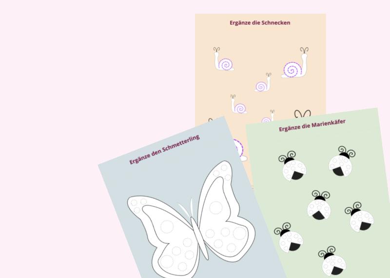 Nachspurübung zum Ausdrucken - Insekten